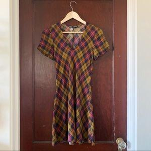 VINTAGE Betsey Johnson plaid dress, sz P / XS